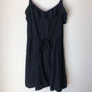 Black Ruffle Neckline Summer Dress